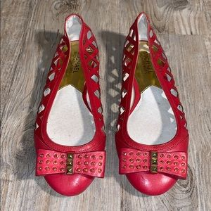 MICHAEL KORS RED LEATHER BALLET FLATS